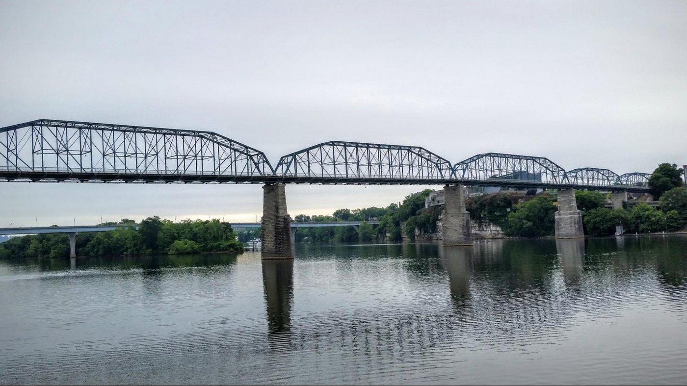 נהר הטנסי בו שוחים, ומסלול הריצה עובר על הגשרים