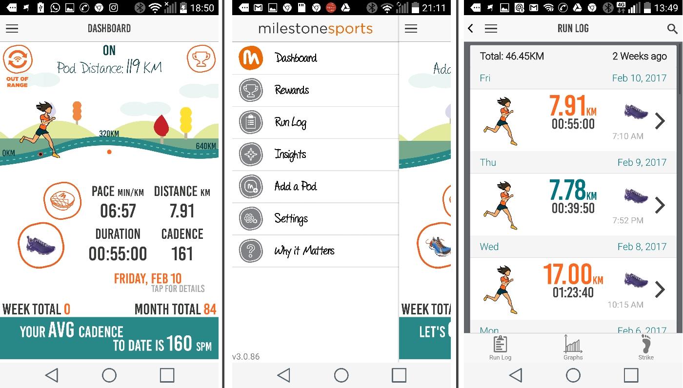 האפליקציה. משמאל - הדשבורד (מסך ראשי באפליקציה), התפריט, ורשימת ריצות